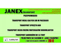 Transport mebli w paczkach/Transport AGD,okien,drzwi,materiałów budowlanych - ŁADUNKI DO 1,5 TONY -
